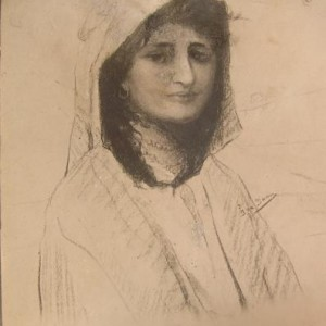 a Girl - new jerusalem, 1910 aprx. , Photo and Drawing by Ira Yann