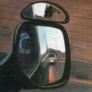 Side-mirrors 1 - Balman Tova, 2003, Acrylic and aquarelle on board, 30 cm X 30 cm