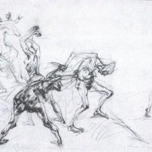 Miriam Gamburd ,Amazons, Pencil Drawing 70X90 cm.