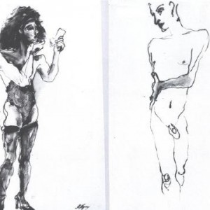 Rena Negrin, Kobi Carol, 1993, Drawing in ink and paint 70X100 cm.