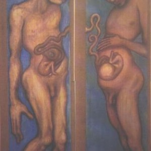 Daniel Wajman, Untitled, 1993 Oil on wall paper pasted on canvas 60X200 cm.