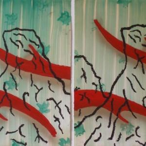 אבי סבח, צוקיים, שמן וספריי על נייר, 2009, 70X100 סמ