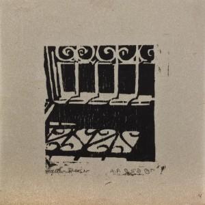 """חנה פייזר בן-דוד, חלון, 1996, חיתוך עץ,  10X10 ס""""מ"""