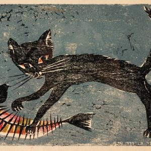 """חנה פייזר בן-דוד, חתול רעב, 1959, חיתוך עץ, 28.5X4 ס""""מ"""