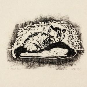 """חנה פייזר בן-דוד, חתלתול, 1958, חיתוך עץ,  26X19.5 ס""""מ"""