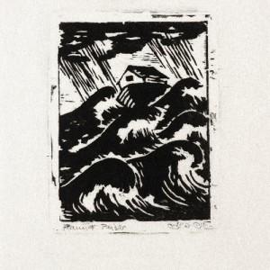 """חנה פייזר בן-דוד, תיבת נח, 1952, חיתוך עץ, 9.5X12 ס""""מ"""