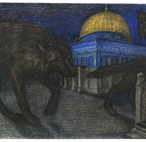 """ללא כותרת, 2006, מתוך סדרה """"כל המקומות קדושים"""", פסטל יבש על נייר, 106x230 סמ'"""