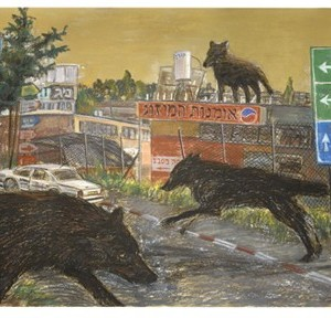 """ללא כותרת,  2007, מתוך סדרה """"כל המקומות קדושים - 2"""" , פסטל יבש על נייר,106x230 סמ'"""