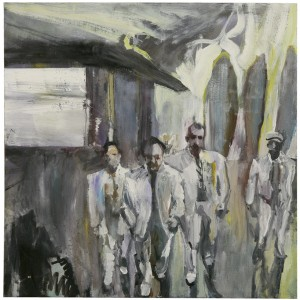 Anne Sassoon,Converging Men, 2013, Oil on canvas