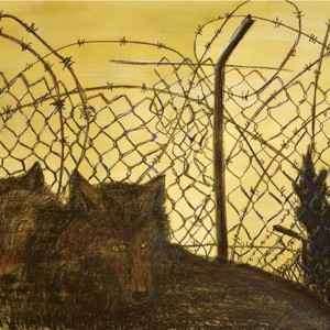 Lena Zaidel, Fence, 2006, Dry pastel and industrial gold paint on paper