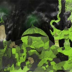 אלהם רוקני, לילות ירוקים 15, 2013, טכניקה מעורבת על נייר ירוק