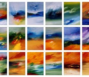 """תצריפי נוף, 2001, שמן על בד, תצריף של 24 תמונות כל אחת בגודל של 20X30 ס""""מ"""