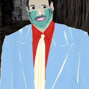 אלהם רוקני, חליפה כחולה, 2010, מסקינגטייפ וטושים על נייר