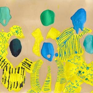 אלהם רוקני, אחיות חלילי 16, 2013, טכניקה מעורבת על נייר