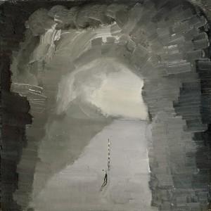 """רונן סימן-טוב, מודד המערות, 2011, שמן על בד, 40*40 ס""""מ"""