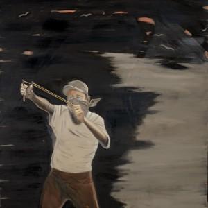 """רונן סימן-טוב, מקלעת, 2011, שמן על בד, 170*150 ס""""מ"""