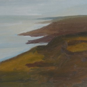 Judith Appleton, The Dead Sea, Southern view, 2013, oil on paper mounted on wood, 25X32.5 cm