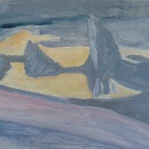 Judith Appleton, Double Iceberg , 2012, oil on paper mounted on wood,  32.25X27.75 cm