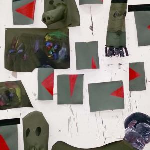 השירות של ג'וק לוק (פרט), 2015, מיצב, תפירה, בד קורדורה, רצועות, קליפסים, אקריליק