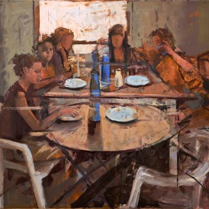 Around the table, 2010, oil on canvas, 120X120 cm