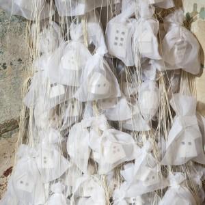 """Exile"" 2015, porcelain, linen and silk"