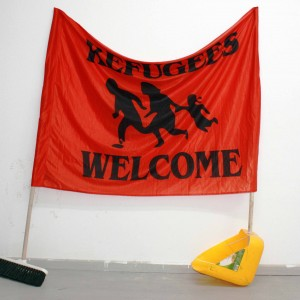 Refugees, 2016, broom, dustpan, flag