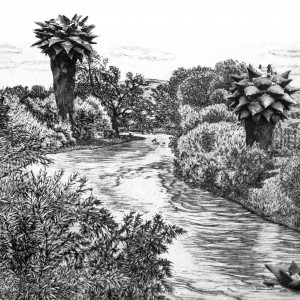 Landscape with Cacti, 2016, collage, 25X35 cm