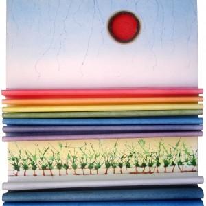 """מאיר סלומון, אוויר 10, 2014, אש ומים על נייר, 45X32.5X5 ס""""מ"""