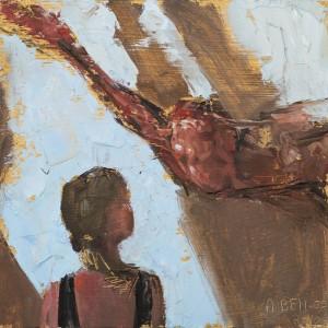 """אן בן אור, המפגש, 2010, שמן על דיקט, 21X23 ס""""מ"""