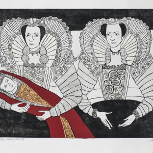 Cholmondeley Ladies Redux, 2016, etching and chine colle, 67x107 cm