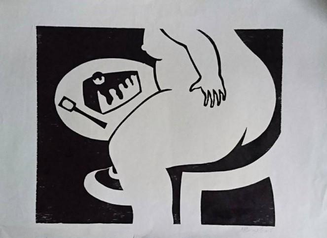 עוגת קצפת, 1975, חיתוך עץ, צילום-רן ארדה