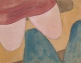 משה הופמן, רגליים באוטובוס, 1980, צבעי מים על נייר