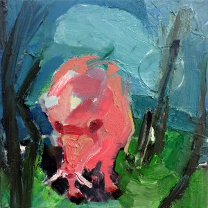Michal Orgil, Pink Pig, 2018, oil on canvas
