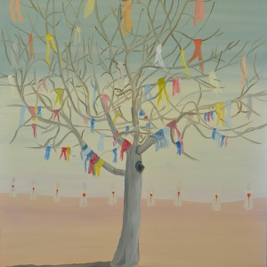 שמעון פינטו, עץ ותשעה, 2013, שמן על בד
