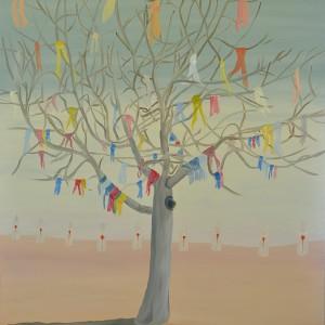 Shimon Pinto, Tree and nine, 2013, oil on canvas