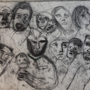 Maria Saleh Mahameed, Wall (detail), 2017, Coal on canvas