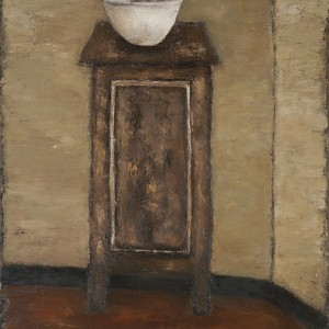 Mira Hermoni Levine, A white vase on a high chest of drawers, 2012, oil on linen, photo: Gregory Khatin