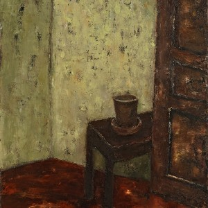 Mira Hermoni Levine, An empty flowerpot on a chest of drawers and a door, 2005, oil on linen, photo: Gregory Khatin