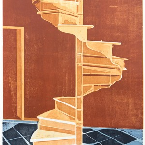 Anat Keinan, Staircase, 2018, Woodcut Print on Paper