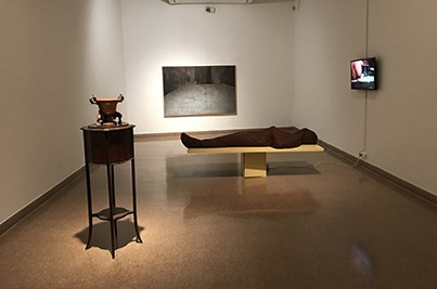 The Body, Ohad Fishof, 2010, mixed media, 180x71x59 cm.Aporia, Masha Yozefpolsky, 2017, oil on canvas, 116.5x176.5 cm. photography: Maya Attoun