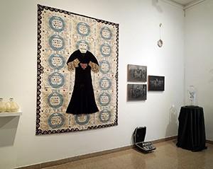Sarah, Jenifer Bar Lev, 2016, antique textiles, canvas, fabric, sewing, and acrylic paint, 234x176 cm. photography: Shlomo Seri