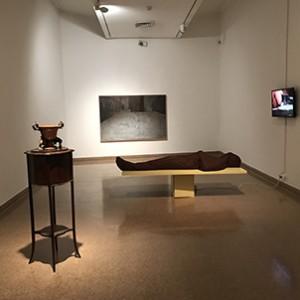 The Body, Ohad Fishof, 2010, mixed media, 180x71x59 cm.Aporia, Masha Yozefpolsky, 2017, oil on canvas, 116.5x176.5 cm. photography Maya Attoun