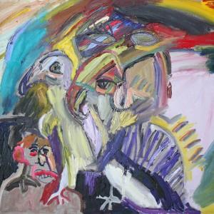 מתיה אורן, ציפורים בראש, 2018, שמן על פשתן, 90X70, צילום: אורן דרכמן Matia Oren, birds in the head, 2018, oil on canvas, 90X70, photography: Oren Drachman