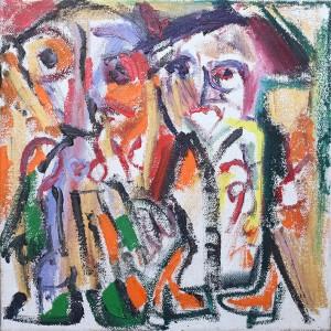 מתיה אורן, ציור גרוע, 2019, מקלות שמן, אקריליק ושמן על בד, 50X45 צילום: אורן דרכמן Matia Oren, Bad Painting, 2019, oil sticks, acrylic and oil on canvas, 50x45, photography: Oren Drachman