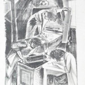 שמוליק כץ, בסדנת ההדפס, 1953 ליתוגרפיה  Shmuel katz, at the printing workshop, 1953 lithograph
