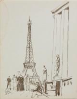 שמוליק כץ, פריז (מגדל אייפל), דיו על נייר, 1953 Shmuel Katz, Paris (Eiffel Tower), Ink on Paper, 1953
