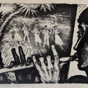 שרגא ווייל, המחלל, ליתוגרפיה, 1953 Shraga Weill, The Flute Player, Lithograph on papaer, 1953
