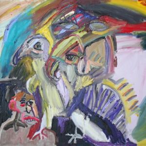 מתיה אורן, ציפורים בראש, 2018, שמן על פשתן, 90X70 Matia Oren, birds in the head, 2018, oil on canvas, 90X70