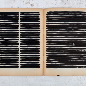 גדעון רובין, הספר השחור, עמוד 196-197, 2017, גואש על נייר, 18.5x25, צילום ריצ'רד איווי Gideon Rubin, Black Book, page 196-197, 2017, Gouache on paper, 18.5x25, photographer Richard Ivey
