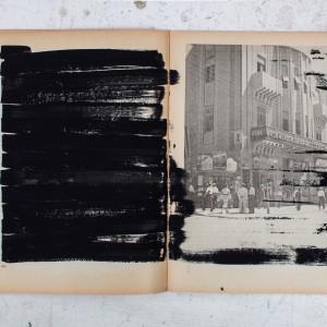 גדעון רובין, הספר השחור, עמוד 242-243, 2017, גואש על נייר, 18.5x25, צילום ריצ'רד איווי Gideon Rubin, Black Book, page 242-243, 2017, Gouache on paper, 18.5x25, photographer Richard Ivey